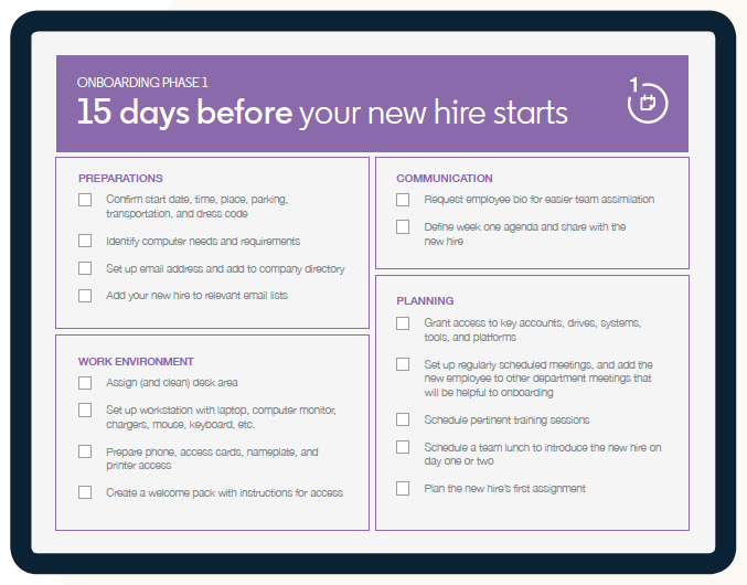 Take your new hire through all of the most important steps in successful onboarding with this handy checklist. Source: LinkedIn