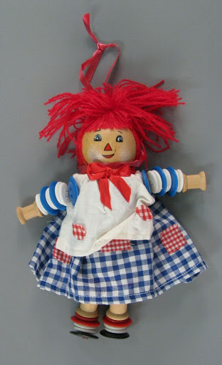 Ornament:Wood and Button Raggedy Ann Christmas Ornament