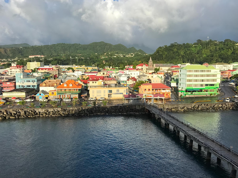 The waterfront of Roseau, capital of Dominica.