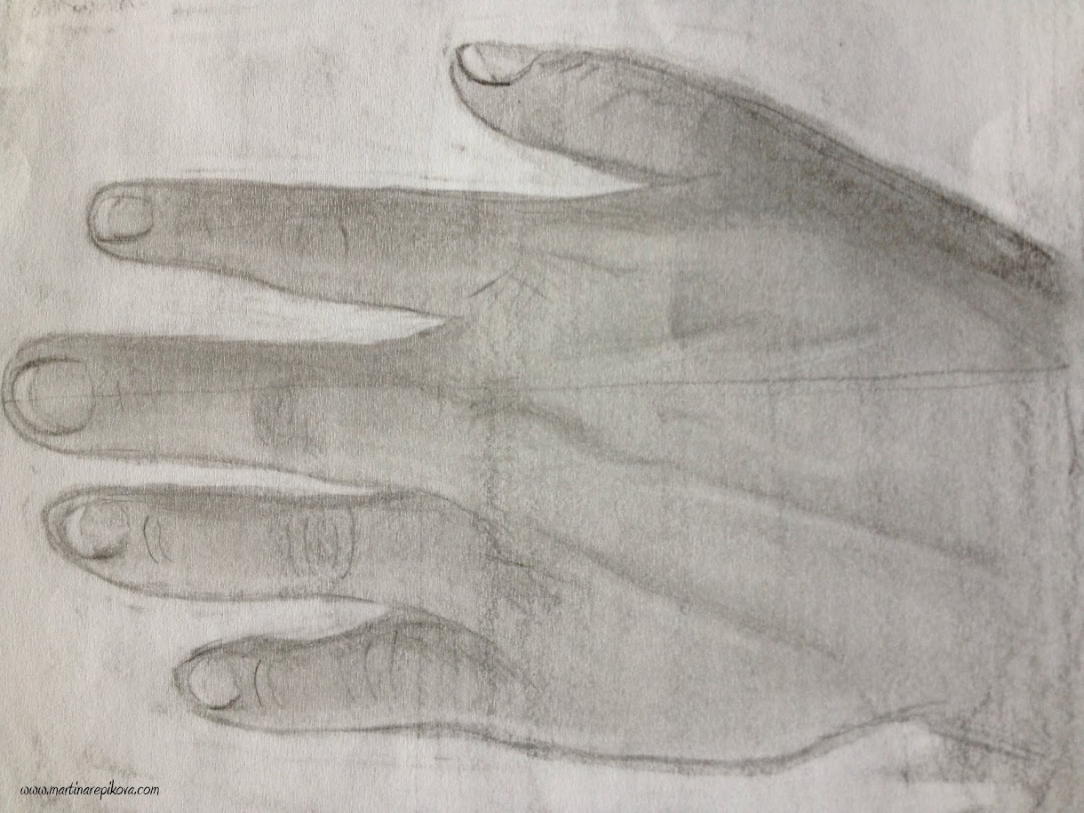 Drawing my hand - focusing on light and shade