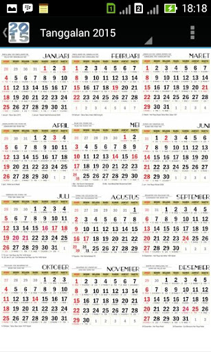2015 Javanese Wall Calendar