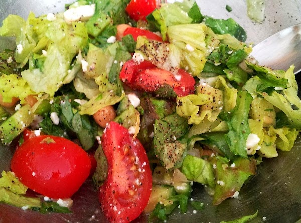 Crisp,fresh lettuce with a few diced seedless cucumbers and tomatoes with my light lemon dressing and a sprinkle of Feta cheese makes a perfect match to the pasta!!