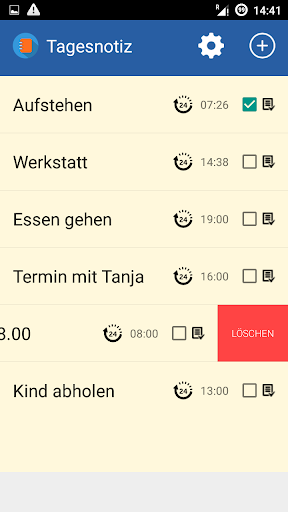 Tägliche Notizen App mit Alarm