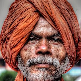 by Vikram Mehta - People Portraits of Men ( wrinkles, saffron, face, headshot, sage, details, hdr, turban, fakir, beard, sadhu, portrait,  )