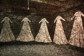 Photo: After the Dream by Chiharu Shiota - the wedding dresses were oversized.