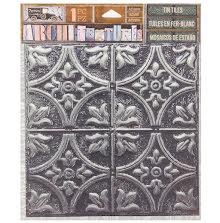 7 Gypsies Architextures Adhesive Tin Tiles 5.75X5.75 - Tarnished Silver UTGÅENDE