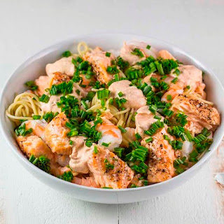 Salmon & Shrimp Pasta.