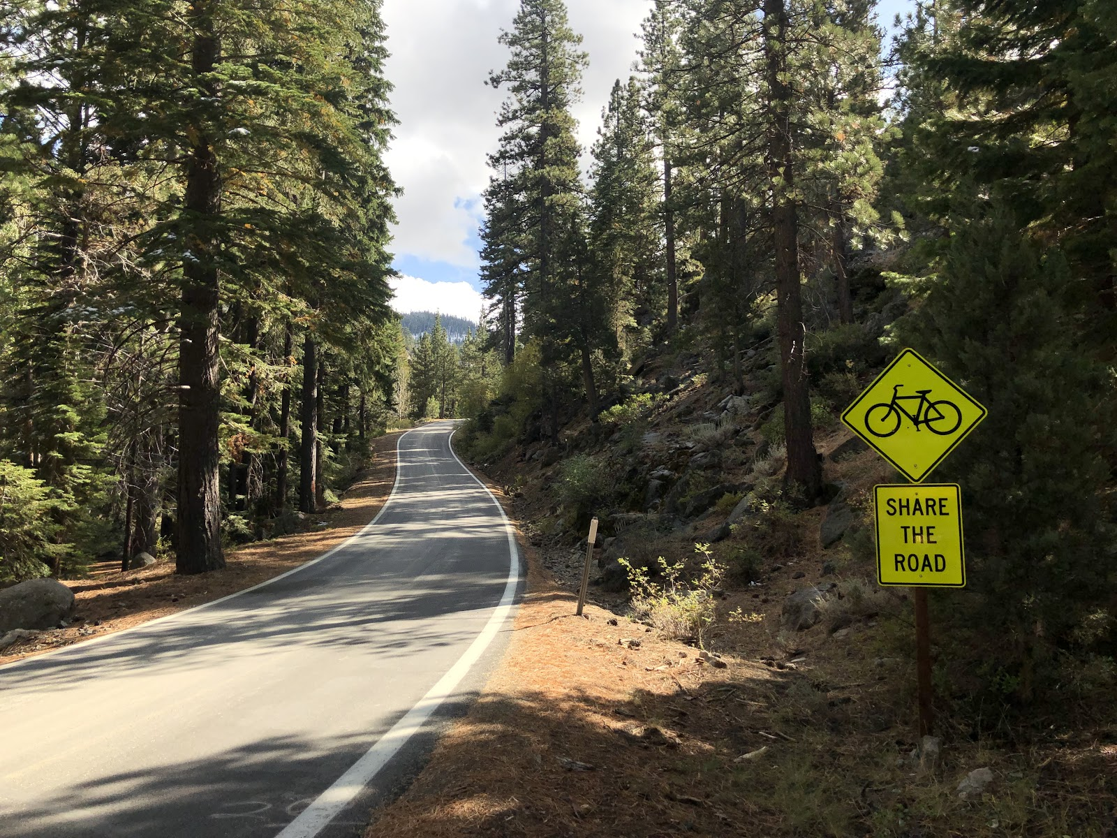 bicycle ride Ebbetts Pass - share the road sign