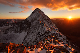 Photo: A spectacular sunset behind Capitol Peak (14,130 ft.) as seen from the summit of K2 (which is actually more of just a subpeak [13,664 ft.] on a huge ridgeline of Capitol).