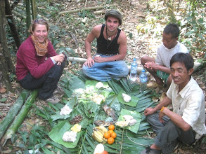 Photo: Eating on Trekking Trail in Luang Namtha