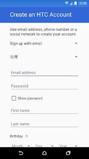 Účet HTC – služby přihlášení - náhled