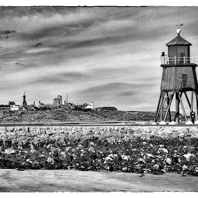 Lighthouse by Kate Russell - Black & White Landscapes ( water, sky, lighthouse, seascape, landscape, mono )