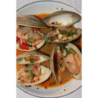 Clams In Garlic and White Wine Sauce.