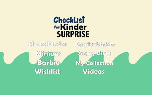Checklist for Kinder Surprise