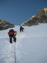 Photo: Steeply up 'the gully' towards the feared Summit Rocks.