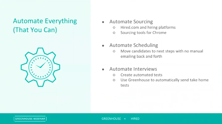 Sample slide on on recruiting automation from the Digging Deep: Growing Responsibly webinar