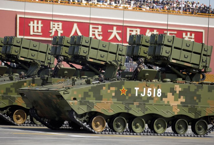 ATF-10 anti-tank missile systems being carried by modified ZBD-04A APCs. (AP/PA)