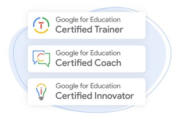 The image has three badges in the form of rectangle blocks over a blue, bean-shaped blob background for the purpose of highlighting the Google Educator Programs. The first shows a red T inside a blue, green, and yellow circle to represent a Google for Education Certified Trainer badge. The second shows a red and yellow C inside intersecting blue and green speech bubbles to represent a Google for Education Certified Coach badge. The third shows a red i inside a blue, yellow, green, and gray light bulb to represent a Google for Education Certified Innovator badge.