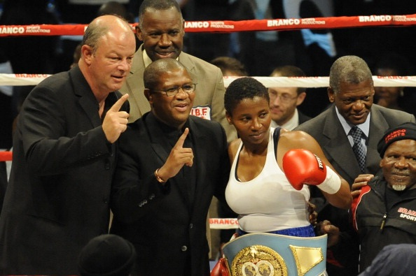 outh Africa's first female world boxing champion Noni Tenge.