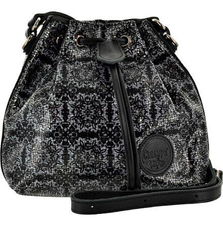 Liten säckväska rutig svart med blommigt foder