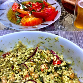 Couscous Salad With Green Goddess Dressing.