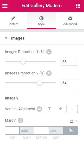 Images style settings in Gallery Modern widget