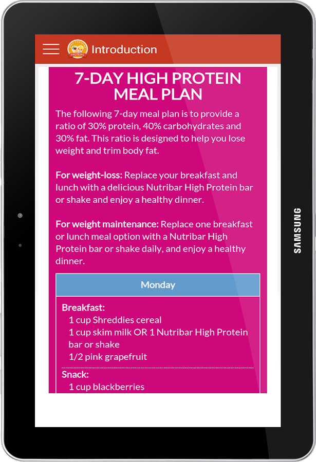 High Protein Foods Screenshot
