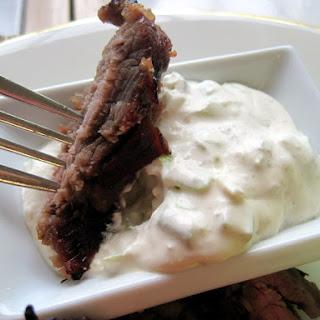 Tangy Flank Steak with Horseradish Cream Sauce.
