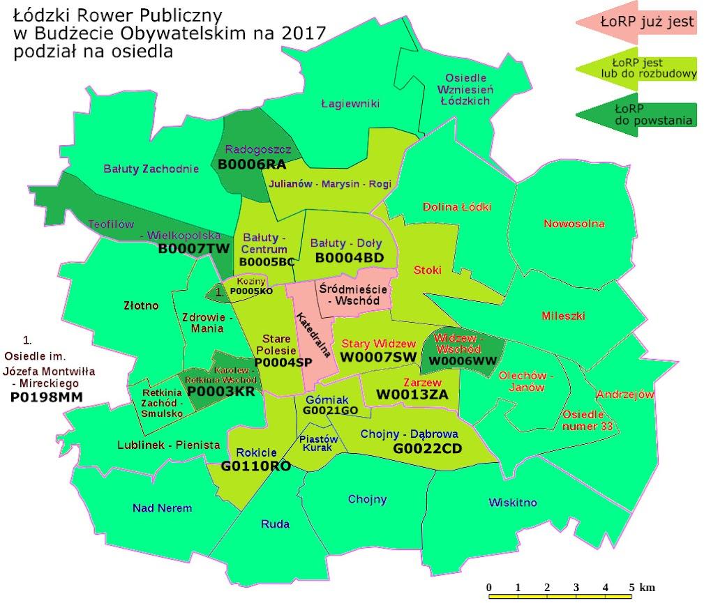 Mapa podziału Łodzi na osiedla
