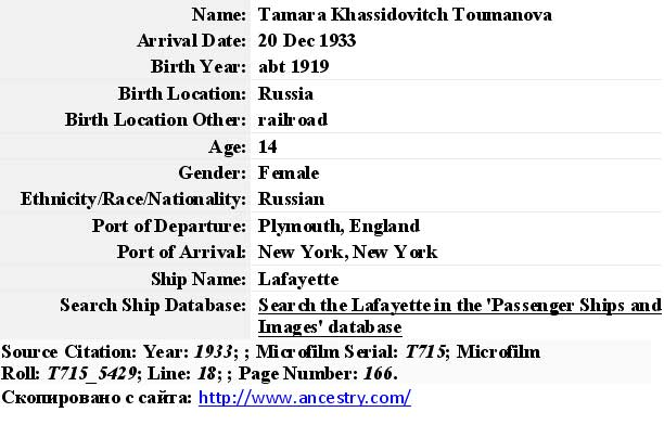 Photo: Tamara Khassidovitch Toumanova  20 Dec 1933 Скопировано с сайта: http://www.ancestry.com/