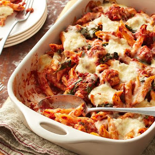 Baked Penne with Chicken Meatballs and Ricotta.