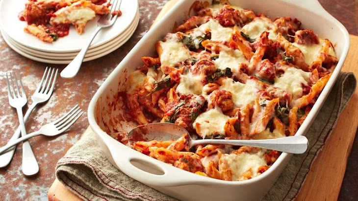 Baked Penne with Chicken Meatballs and Ricotta Recipe