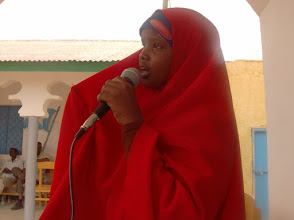 Photo: Many girls in Somalia do not find enough quality time to do their homework at home or elsewhere due to too many household chores. This of course affects their attendance, performance and participation as well as general achievements in school.  Meet Zamzam, at only she had the courage and confidence to stand up in front of a crowd of over 100, and through traditional Somali poetry called buranbuur, advocated for girls to be given more time at home to do their homework. Some people watched in utter silence, in awe and admiration and clapped for her as she stood there for close to 10 mins to recite a very long buranbuur she had compiled and memorized in which she criticised society about gender favoritism and stereotypes against girls and women!  Amazing!