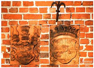 Photo: Kacheln mit den Wappen des Landes Mecklenburg und das Königliche Wappen Dänemarks   Seit 1959 ist das  Wappen mit den 3 Löwen das Staatswappen Dänemarks. / Danmarks rigsvåben Details / Versionen Wappenschild Drei schreitende bekrönte, goldbewehrte und rotbezungte Löwen mit neun roten Herzen und drei goldenen Königskronen (Kongeriget Danmark) .
