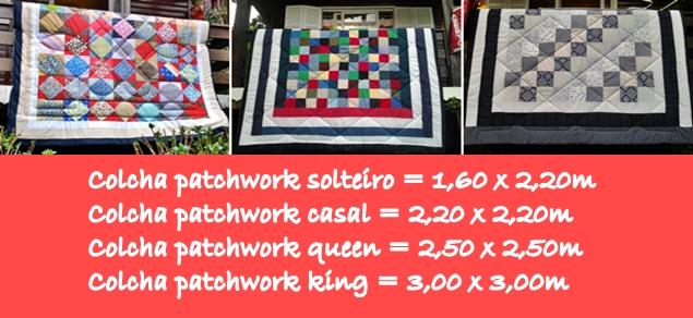 A imagem ilustra três colchas patchwork da Cia das Mãos Patchwork comentando sobre os tamanhos para as colchas tamanho solteiro, casal, queen e king.  São colchas patchwork quadriculadas, bem coloridas.