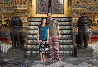 Photo: This entrance is also a standard place for group photos: Adrienne and boyfriend Stephen, shoeless as required for a Buddhist temple.
