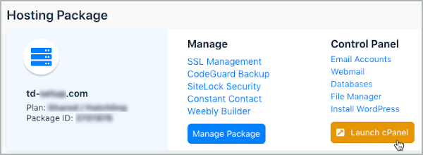 Under Hosting Package, the Launch cPanel button is selected.
