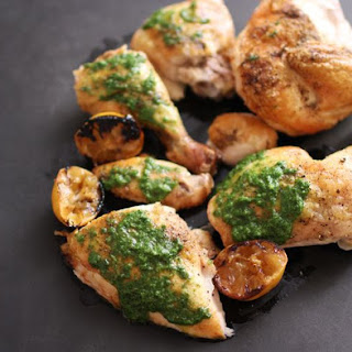 Roast Chicken with Salsa Verde and Roasted Lemons