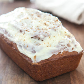 Pumpkin Banana Bread with Spiced Cream Cheese Glaze.