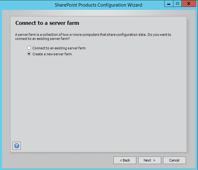 SharePoint 2016 Configuration Wizard - connect to a server farm