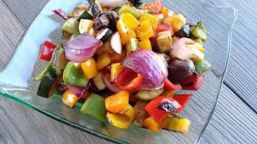 """Balsamic Grilled Vegetables""""Veggies marinated in balsamic vinegar and soy sauce and cooked..."""