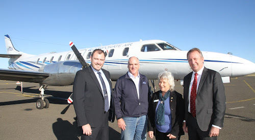 Narrabri Shire general manager Stewart Todd, Whitehaven Coal group manager community relations Tim Muldoon, the mayor Cathy Redding and Member for Barwon Kevin Humphries at the official opening of Narrabri Airport on Thursday.