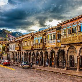 Cuzco balconies by Dmitry Samsonov - City,  Street & Park  Historic Districts ( peru, south america, street, cuzco, historic district, inca, balcony, downtown, cusco,  )