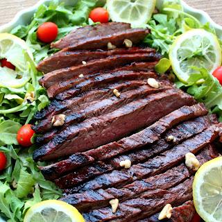 Lemon Arugula Steak Salad with Lemon Soy Dressing