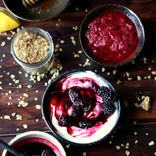 Warm Blackberry Compote + Greek Yogurt and Granola.