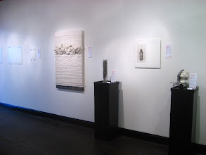 Photo: Glass Sculpture (left): Jean Fernandes Photo Etching (middle): Shoshanna Givon Ceramic Sculpture (right): Geetha Alagirisamy