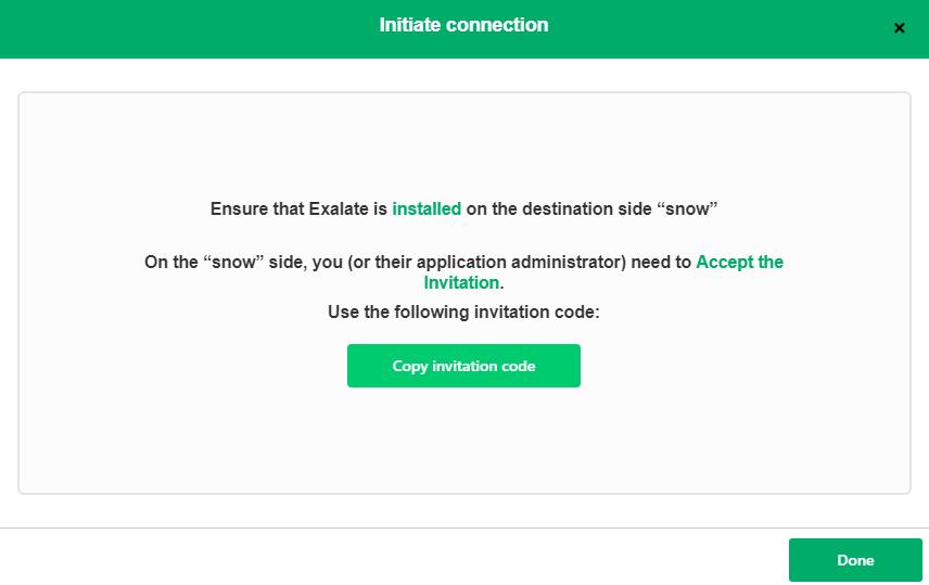 exalate invitation code for a snow jira sync