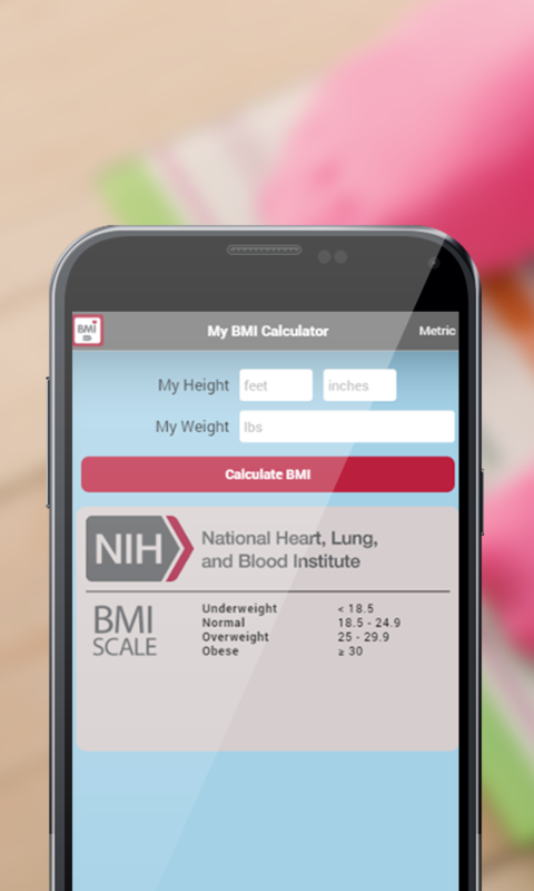 NIH BMI Calculator- screenshot