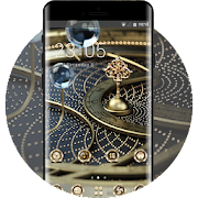 Theme for technology design golden metal wallpaper icon