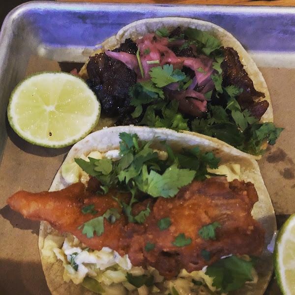 Pork belly and fish tacos...yummmmmmm